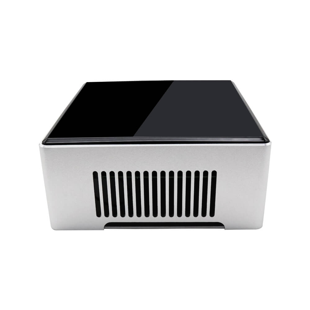 DroiX PROTEUS G4 Intel NUC Mini PC shown from the side with exhaust visible