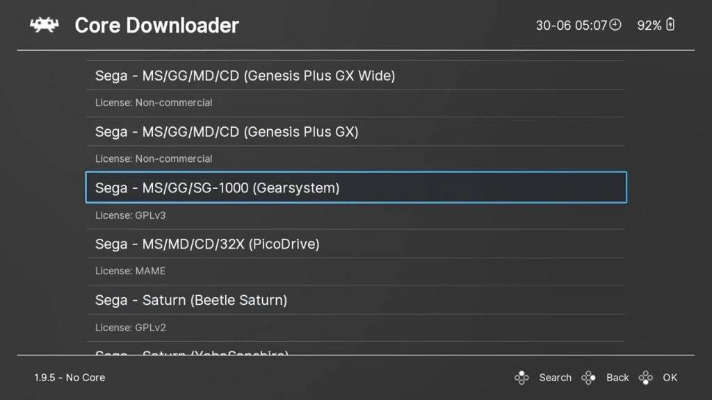 Selecting a core in RetroArch on GPD Win 3