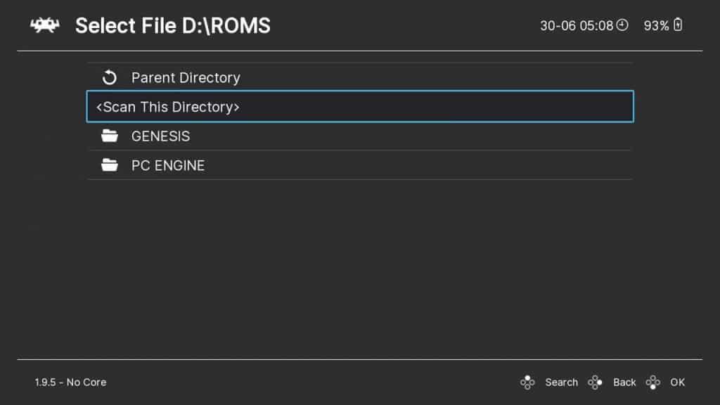 Scanning directory in RetroArch on GPD Win 3