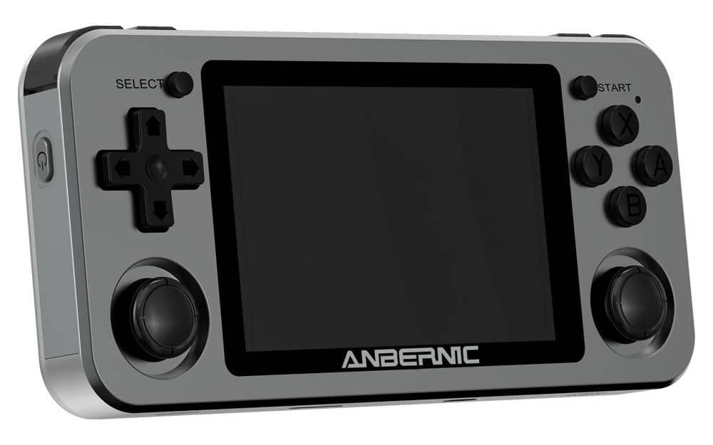 ANBERNIC RG351M Space Grey - Shown from the front at angle