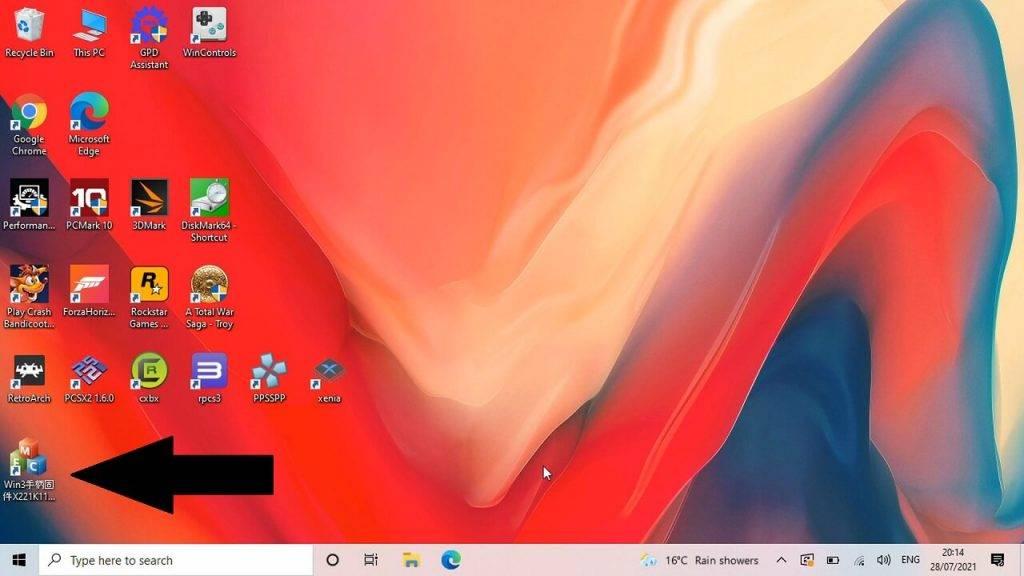 Running the GPD Win 3 BIOS updater software