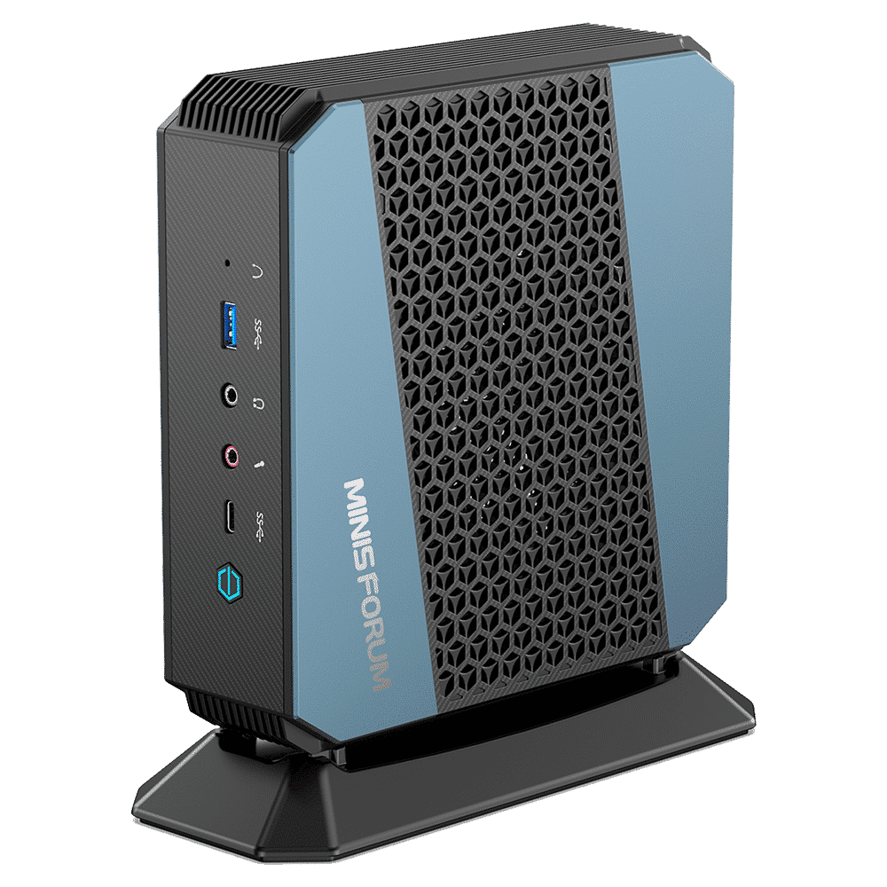 MinisForum EliteMini HX90 Gaming Mini PC - Shown from the front with USB Type-A 3.0, Microphone & Headphone Jack, USB-Type C and Power Button