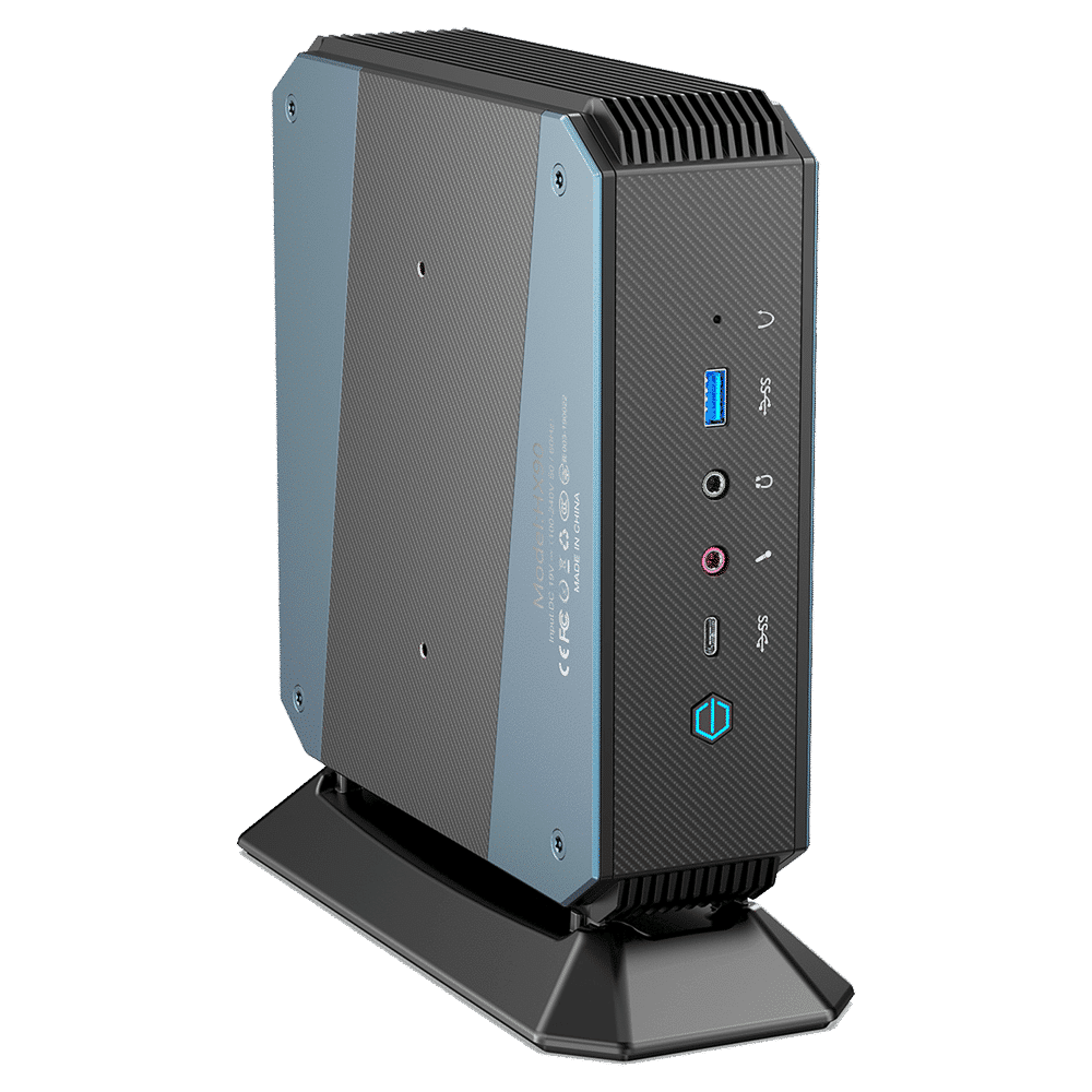 MinisForum EliteMini HX90 Gaming Mini PC - Shown from the front with USB Type-A 3.0, Microphone & Headphone Jack, USB-Type C and Power Button from a different angle