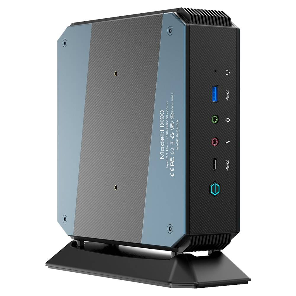 MinisForum EliteMini HX90 Vertical Gaming Mini PC - Shown from the rear at an angle from the left with Power Port, 4x Display Output, Headphone&Microphone Jack, 4x USB Type-C 3.0 and one 2.5G Ethernet Port