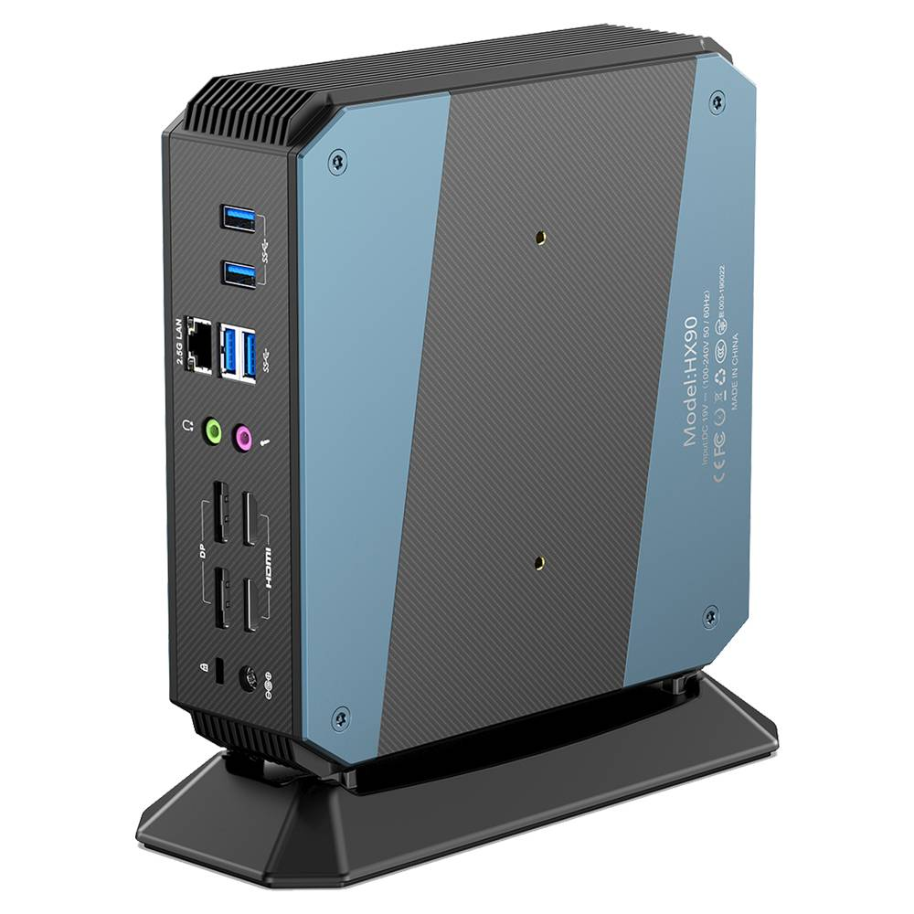 MinisForum EliteMini HX90 Vertical Gaming Mini PC - Shown from the rear at an angle from the right with Power Port, 4x Display Output, Headphone&Microphone Jack, 4x USB Type-C 3.0 and one 2.5G Ethernet Port