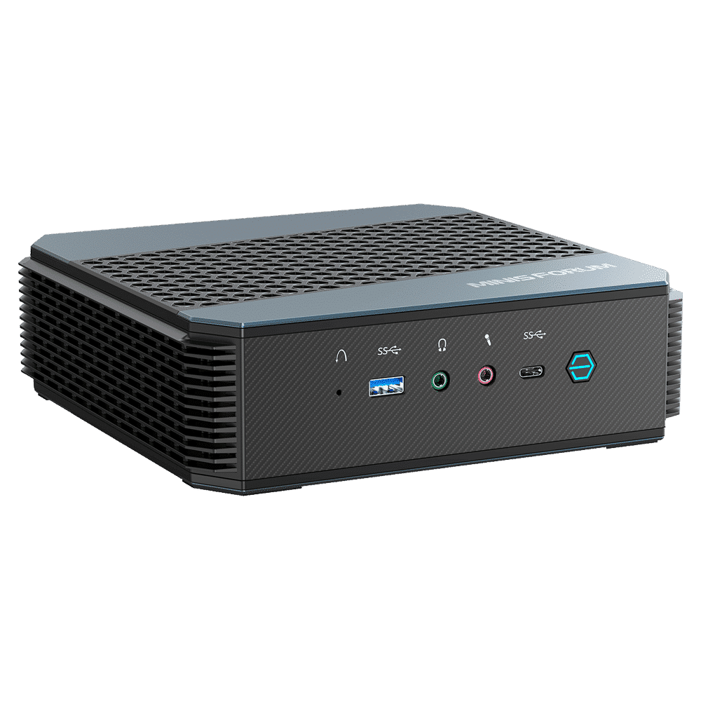 MinisForum EliteMini HX90 Gaming Mini PC Horizontal - Shown from the front with USB Type-A 3.0, Microphone & Headphone Jack, USB-Type C and Power Button from a different angle