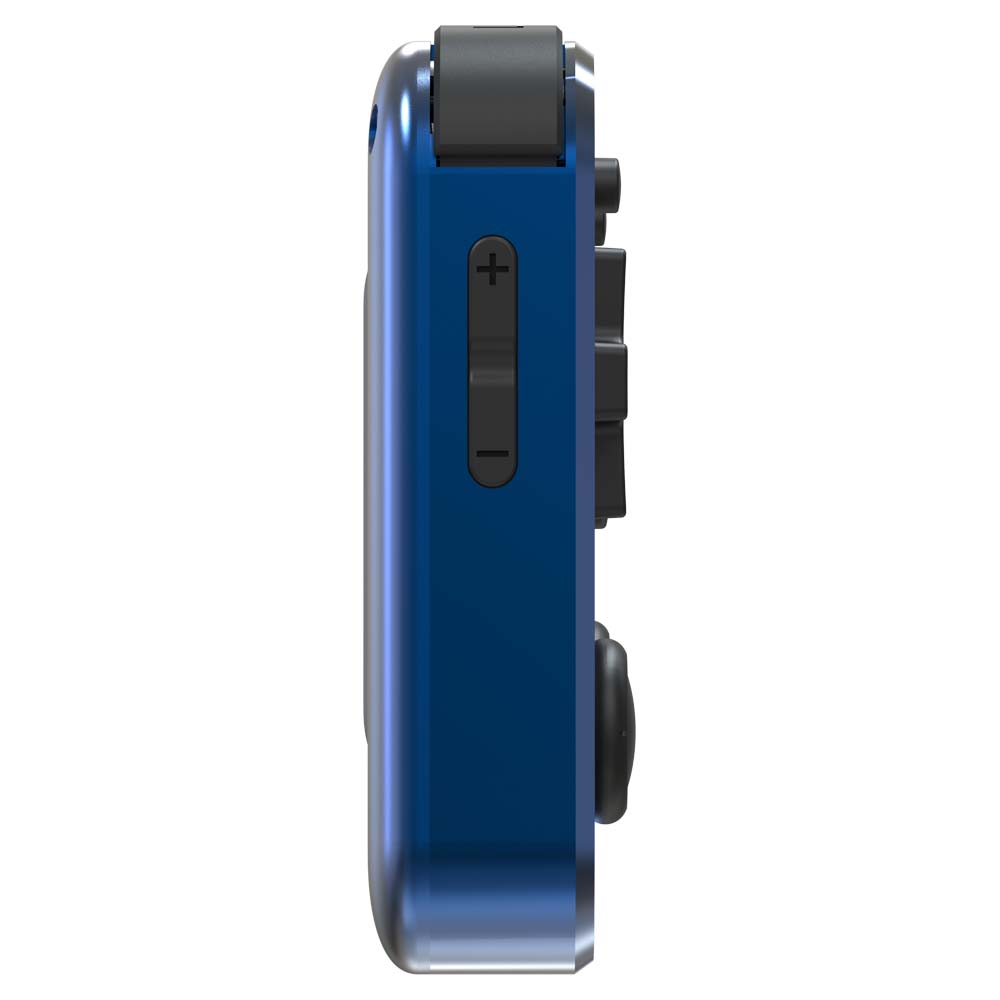 RG351MP Ocean Blue - Shown from the left side with volume buttons