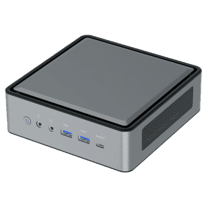 MinisForum HM50 Ryzen Mini PC for Home - Shown from the front at angle